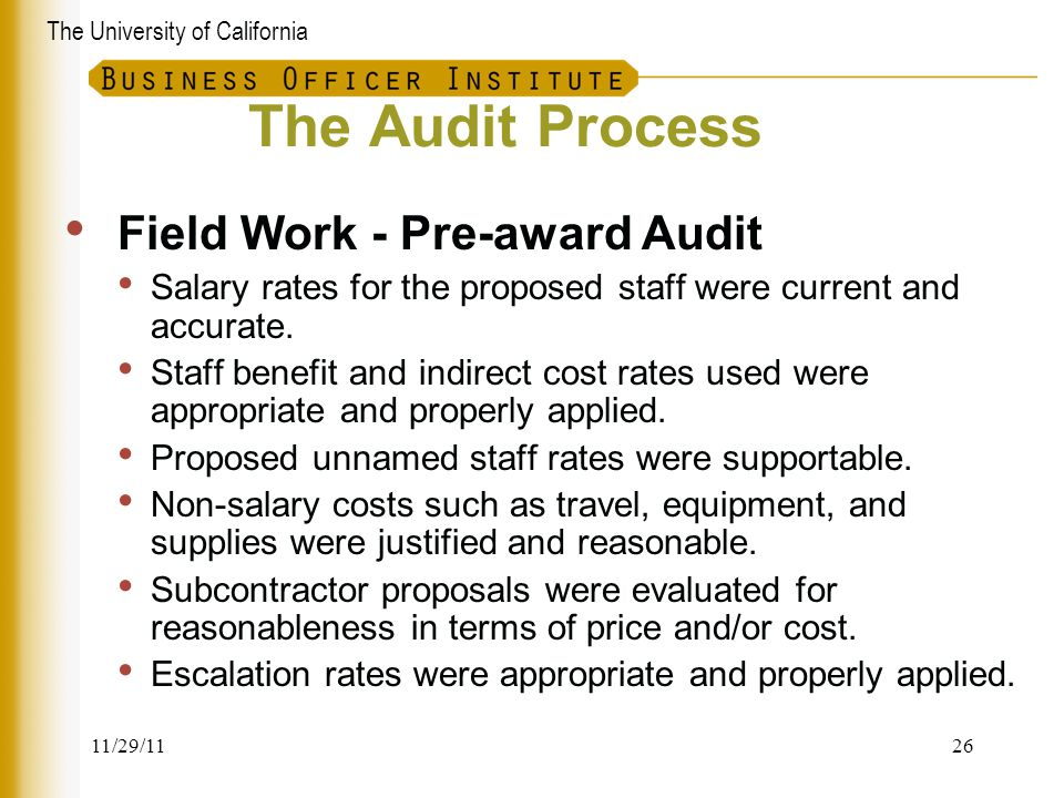The Audit Process Field Work - Pre-award Audit