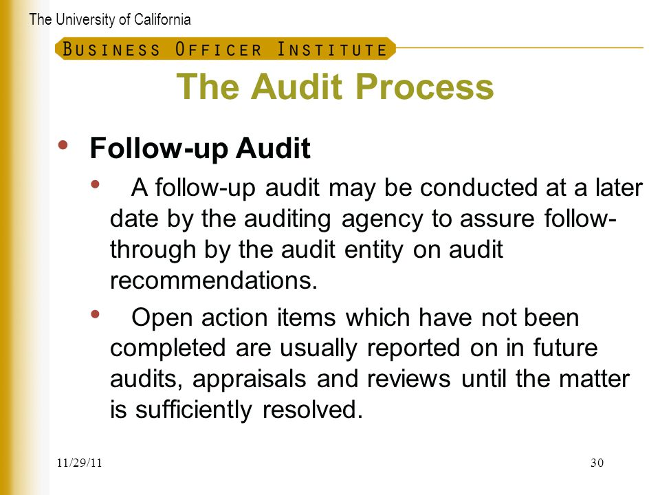 The Audit Process Follow-up Audit