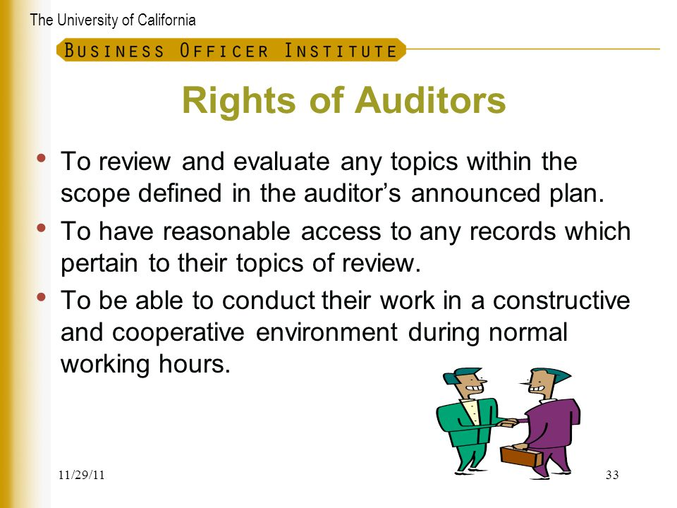 Rights of Auditors To review and evaluate any topics within the scope defined in the auditor's announced plan.