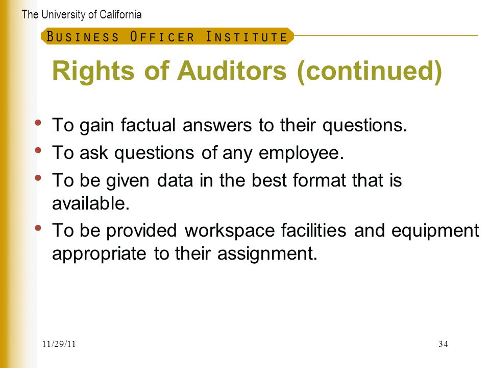 Rights of Auditors (continued)