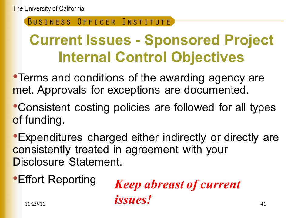 Current Issues - Sponsored Project Internal Control Objectives
