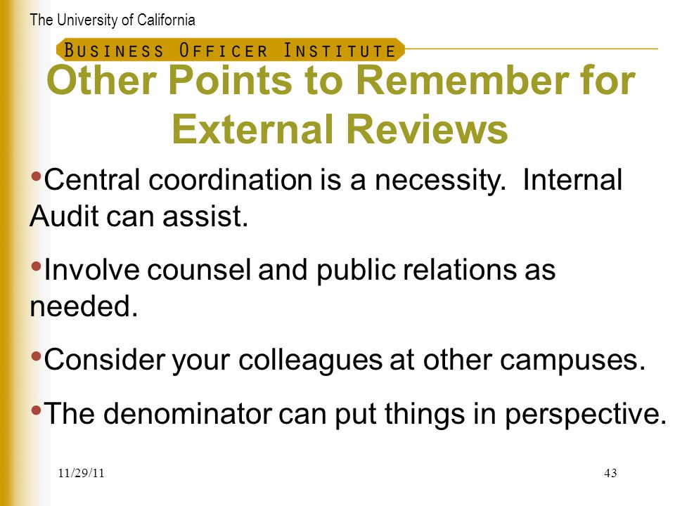 Other Points to Remember for External Reviews
