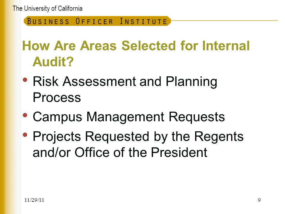 How Are Areas Selected for Internal Audit