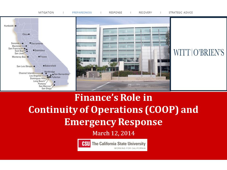 Finance's Role in Continuity of Operations (COOP) and Emergency Response