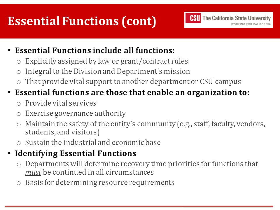 Essential Functions (cont)
