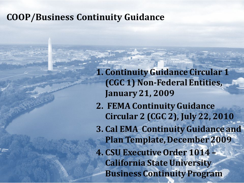 COOP/Business Continuity Guidance