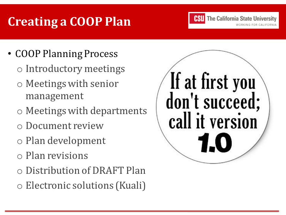 Creating a COOP Plan COOP Planning Process Introductory meetings