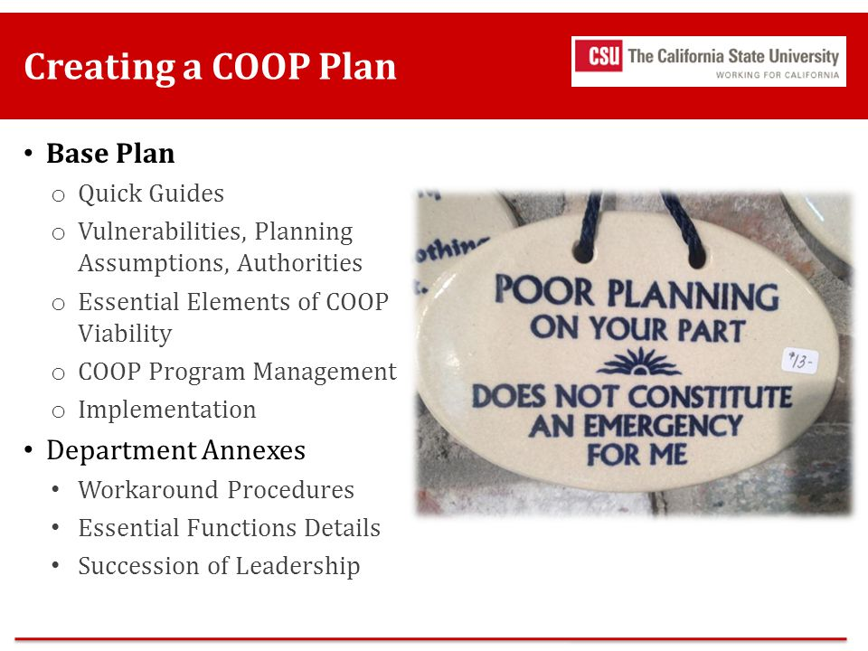 Creating a COOP Plan Base Plan Department Annexes Quick Guides