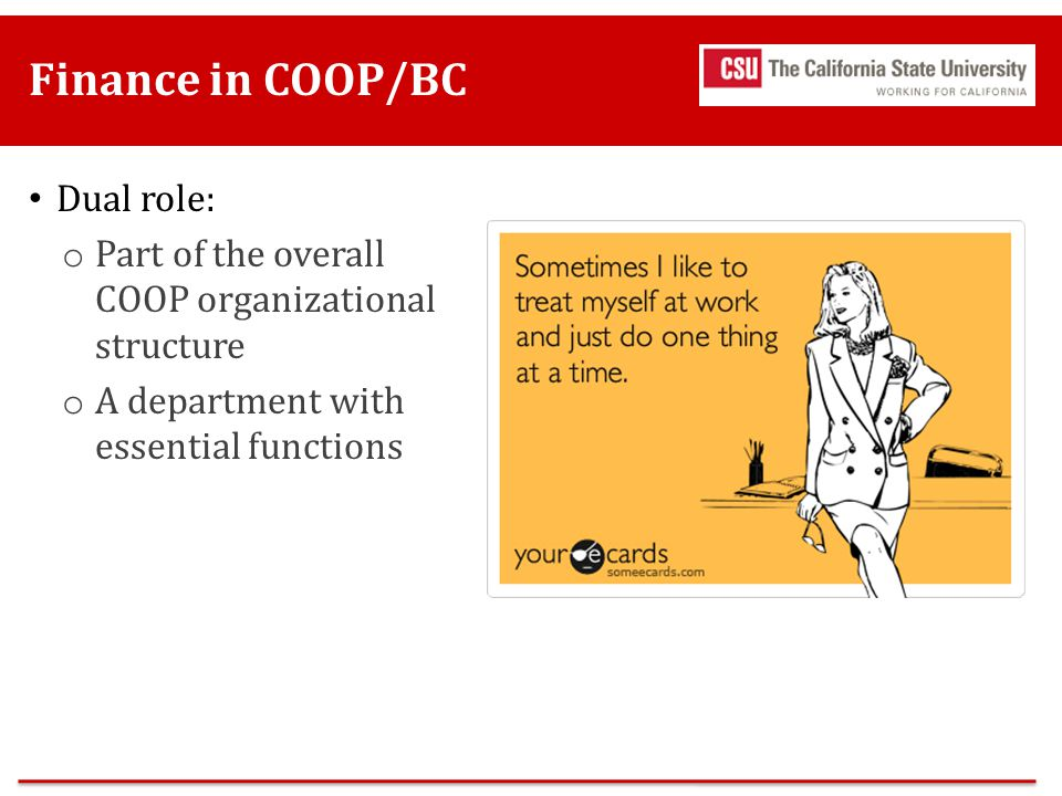 Finance in COOP/BC Dual role:
