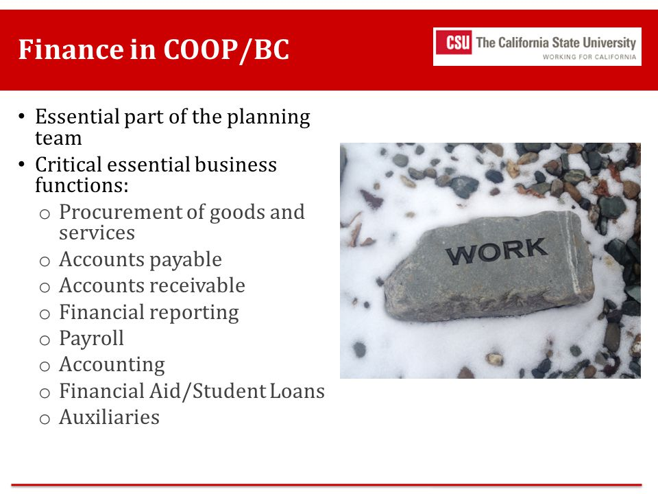 Finance in COOP/BC Essential part of the planning team