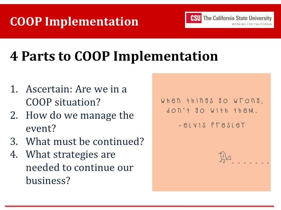 4 Parts to COOP Implementation