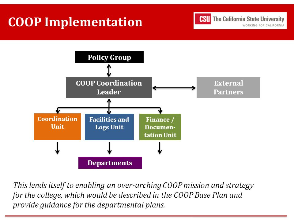 COOP Implementation Departments. COOP Coordination Leader. External Partners. Policy Group. Coordination Unit.