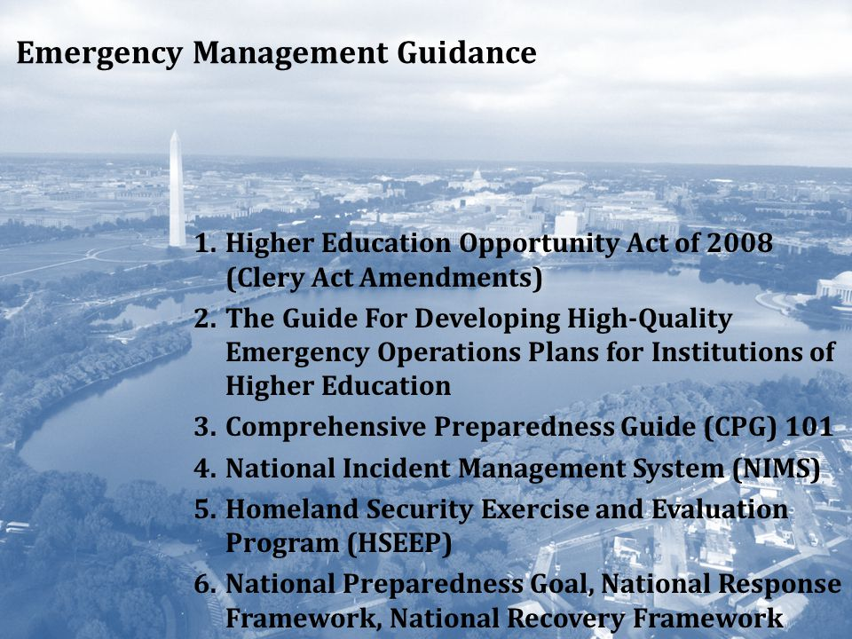 Emergency Management Guidance