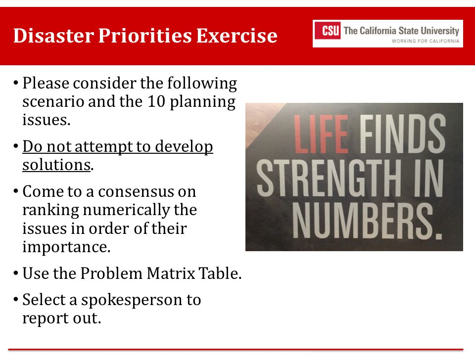 Disaster Priorities Exercise