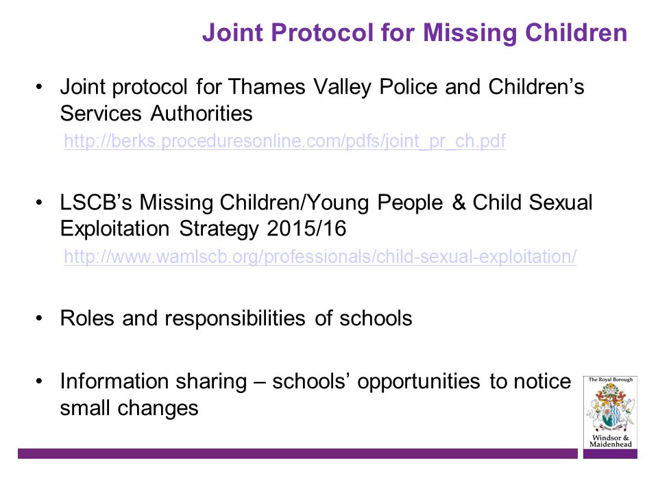 Joint Protocol for Missing Children
