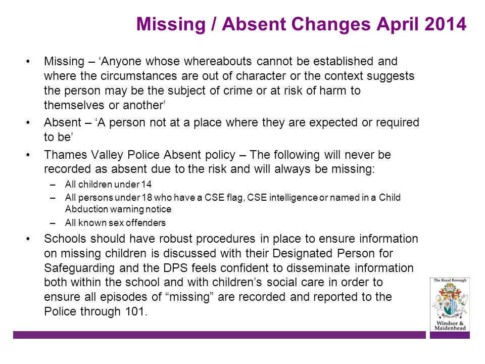 Missing / Absent Changes April 2014