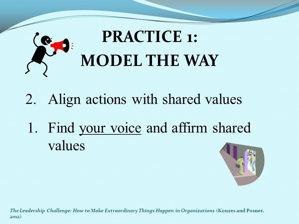 PRACTICE 1: MODEL THE WAY 2. Align actions with shared values