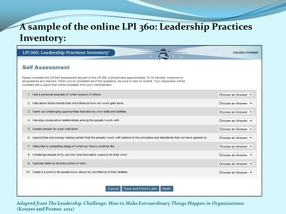 A sample of the online LPI 360: Leadership Practices Inventory:
