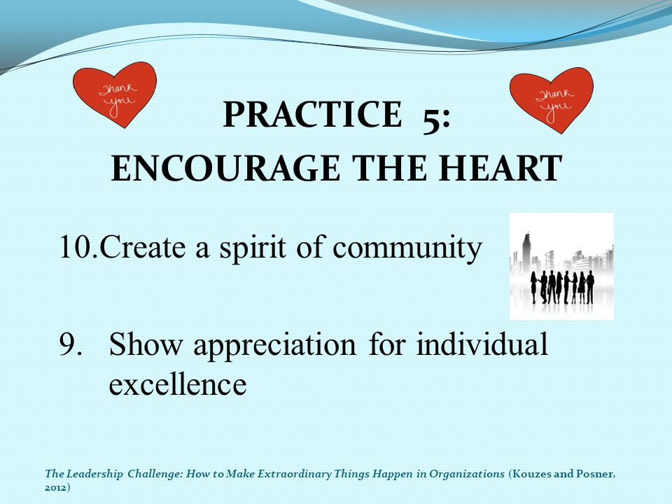 PRACTICE 5: ENCOURAGE THE HEART