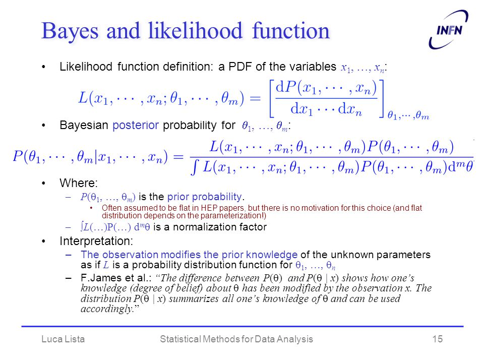 Bayes and likelihood function