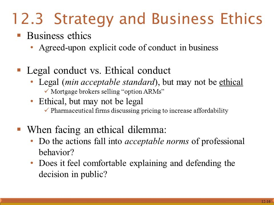 12.3 Strategy and Business Ethics