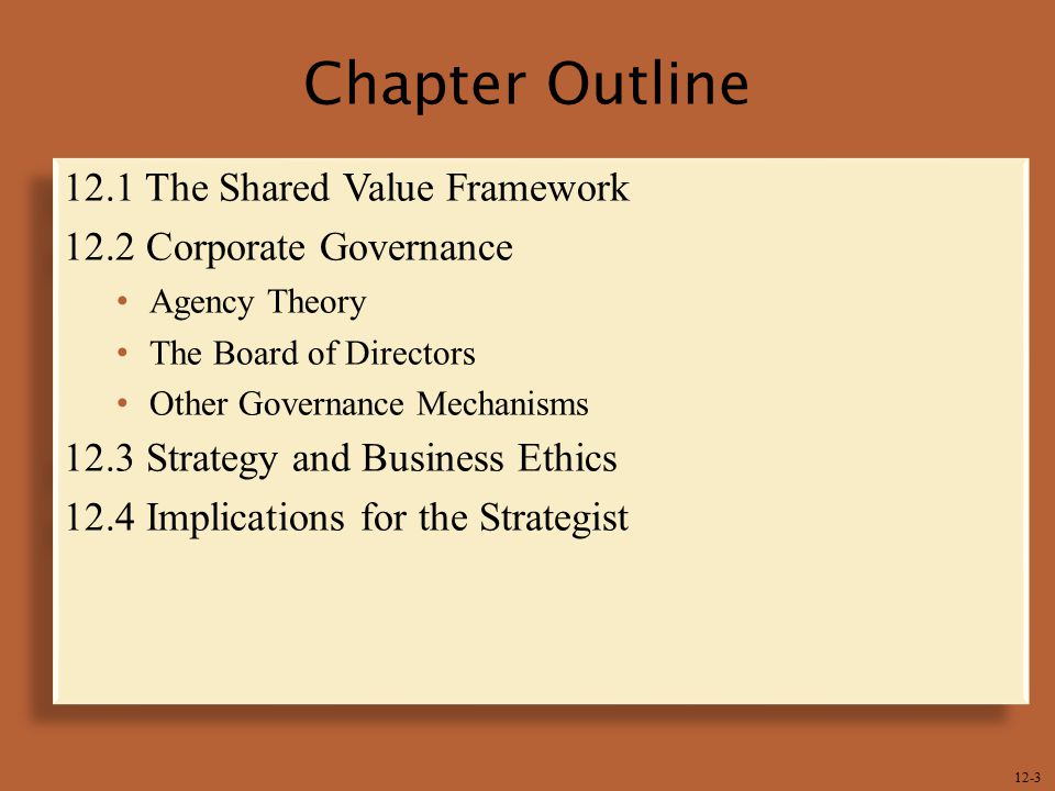 Chapter Outline 12.1 The Shared Value Framework