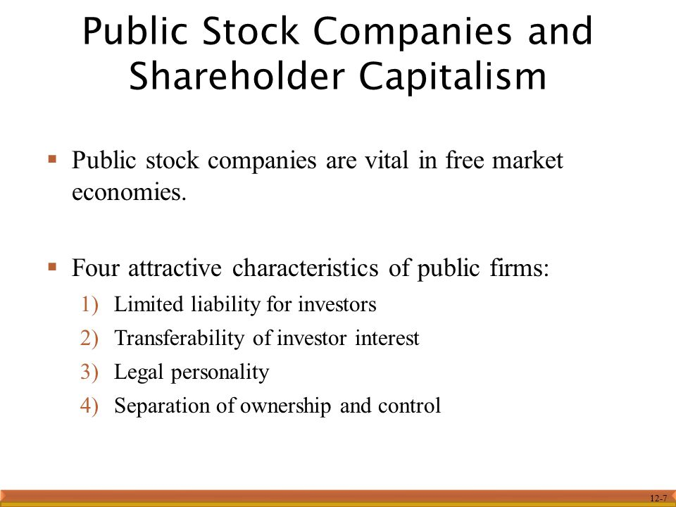 Public Stock Companies and Shareholder Capitalism