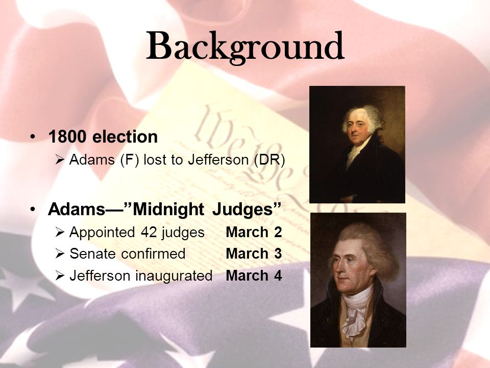 Background 1800 election Adams— Midnight Judges