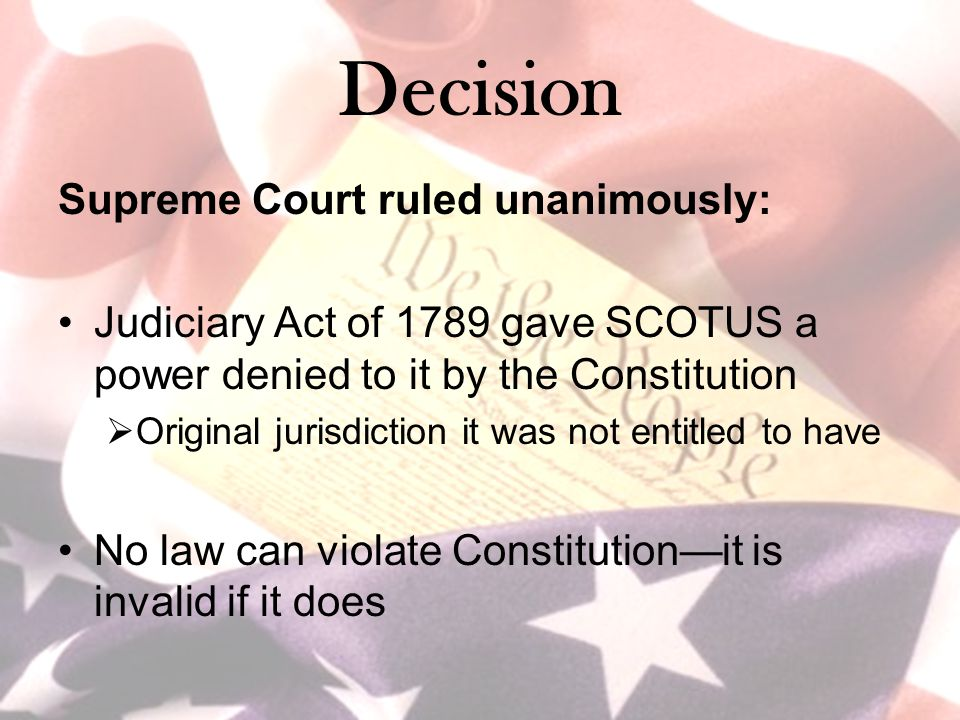 Decision Supreme Court ruled unanimously: