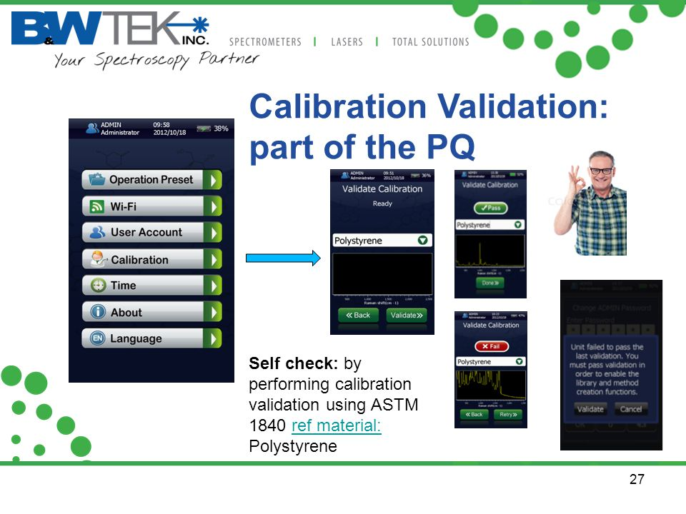 Calibration Validation: part of the PQ