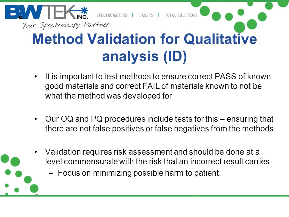 Method Validation for Qualitative analysis (ID)