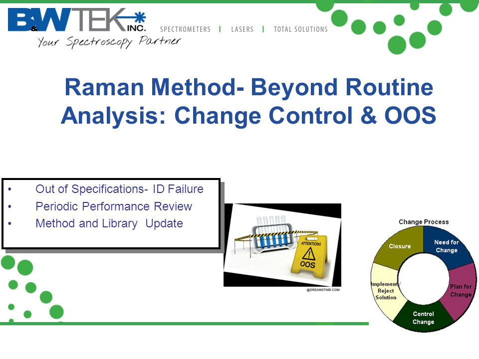 Raman Method- Beyond Routine Analysis: Change Control & OOS