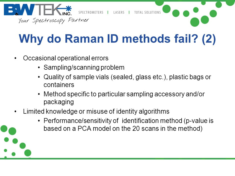 Why do Raman ID methods fail (2)