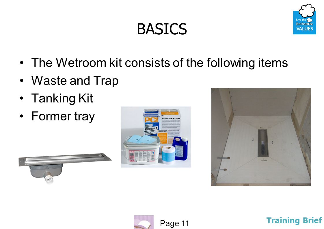 BASICS The Wetroom kit consists of the following items Waste and Trap