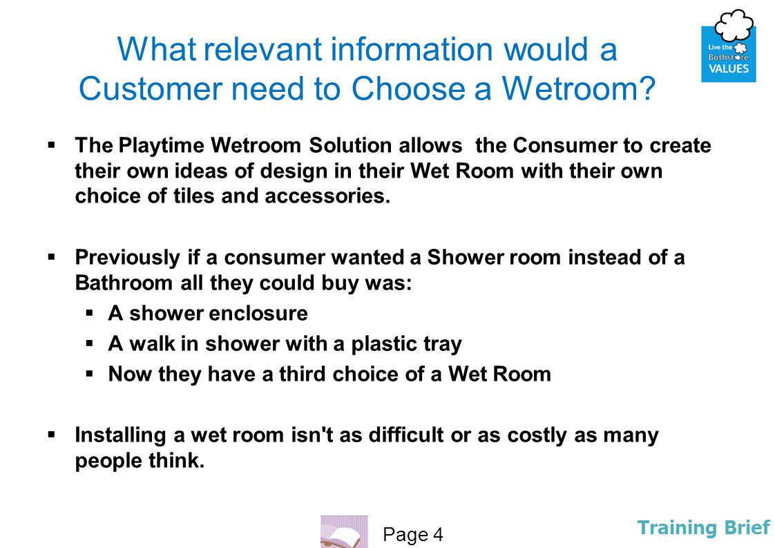 What relevant information would a Customer need to Choose a Wetroom