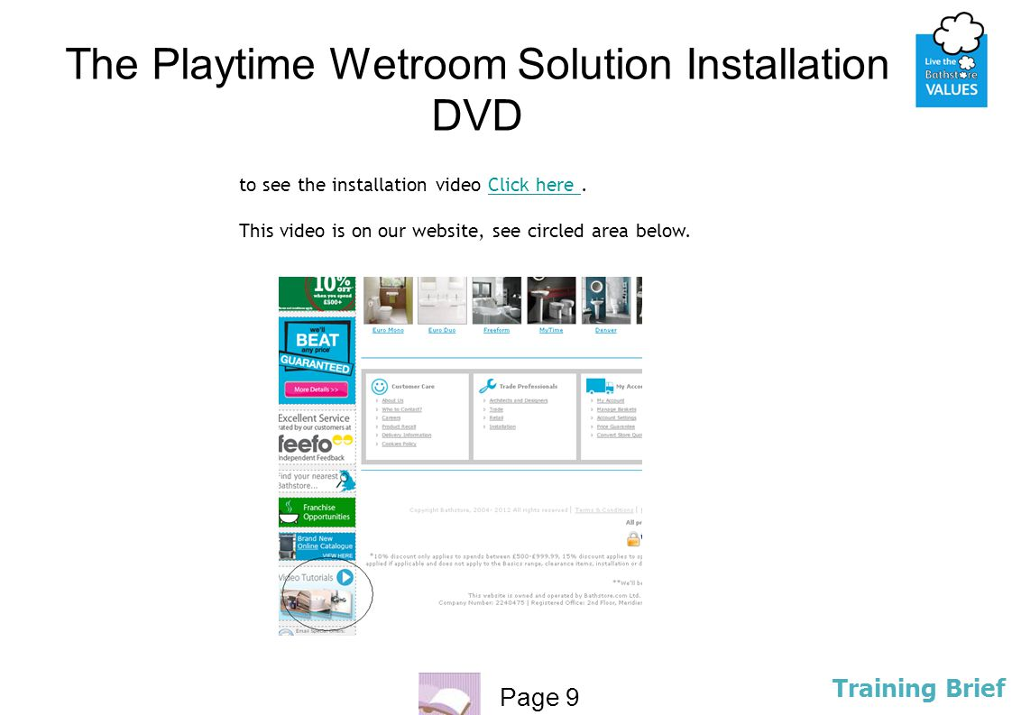 The Playtime Wetroom Solution Installation DVD