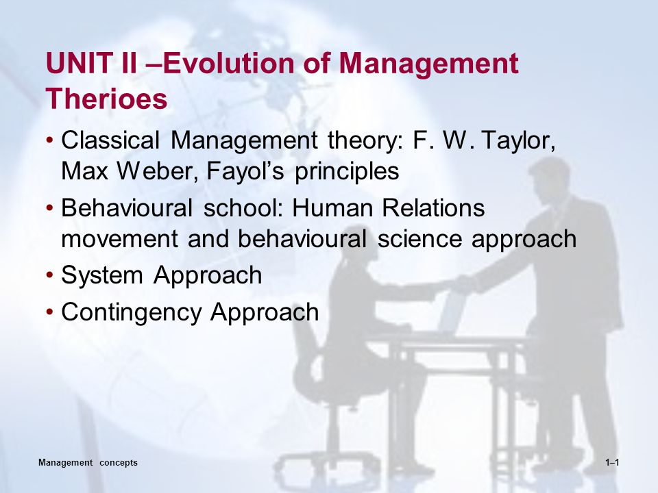 UNIT II –Evolution of Management Therioes