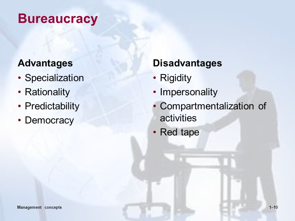 Bureaucracy Advantages Disadvantages Specialization Rationality