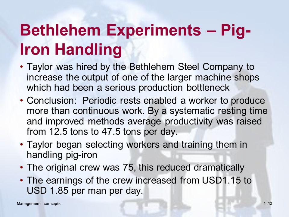 Bethlehem Experiments – Pig-Iron Handling
