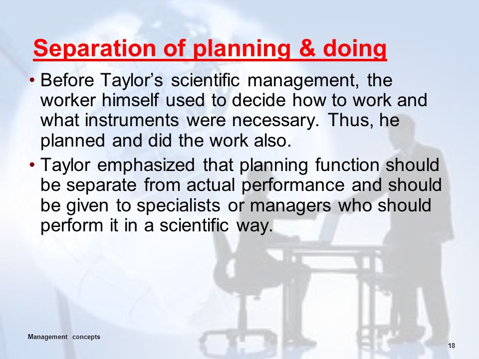 Separation of planning & doing