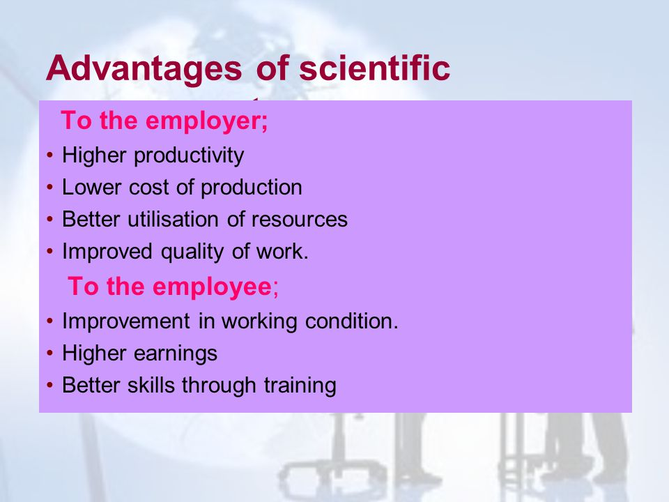 Advantages of scientific management