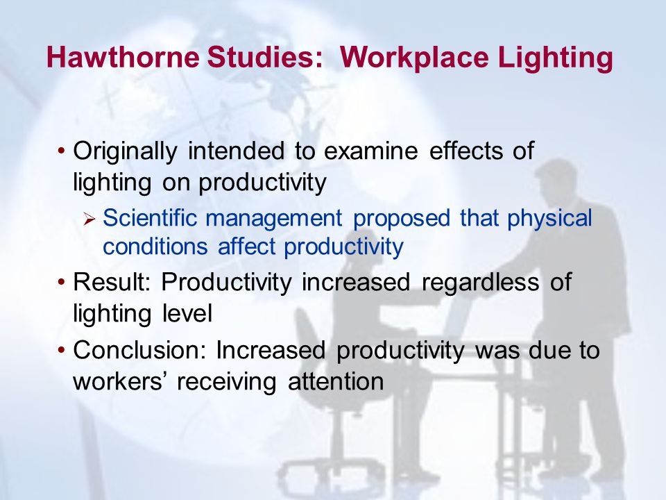 Hawthorne Studies: Workplace Lighting