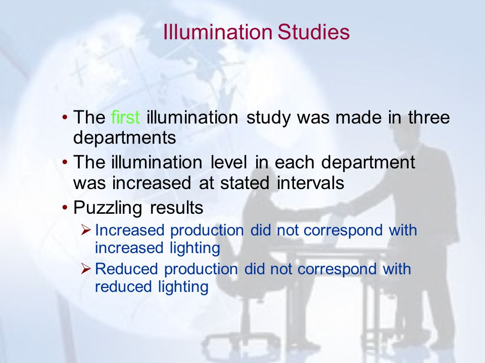 Illumination Studies The first illumination study was made in three departments.