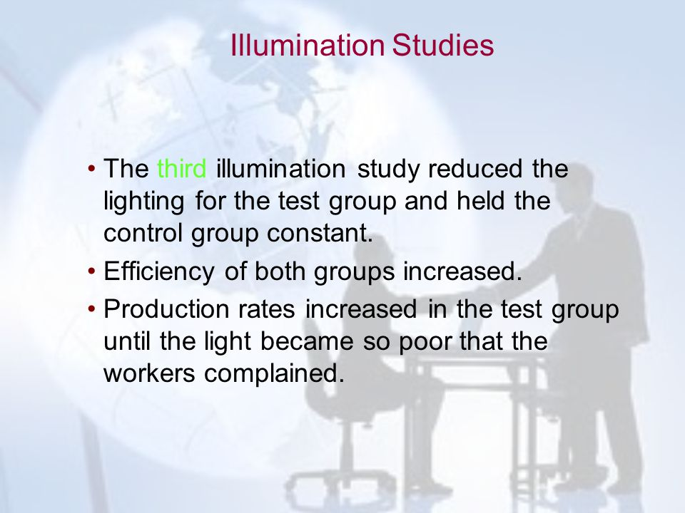 Illumination Studies The third illumination study reduced the lighting for the test group and held the control group constant.