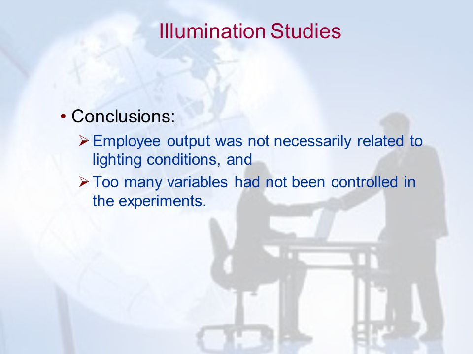 Illumination Studies Conclusions: