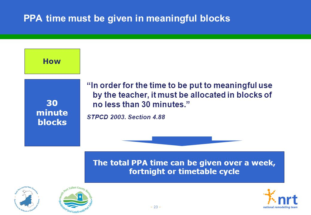 PPA time must be given in meaningful blocks