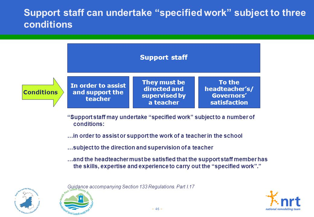 Support staff can undertake specified work subject to three conditions