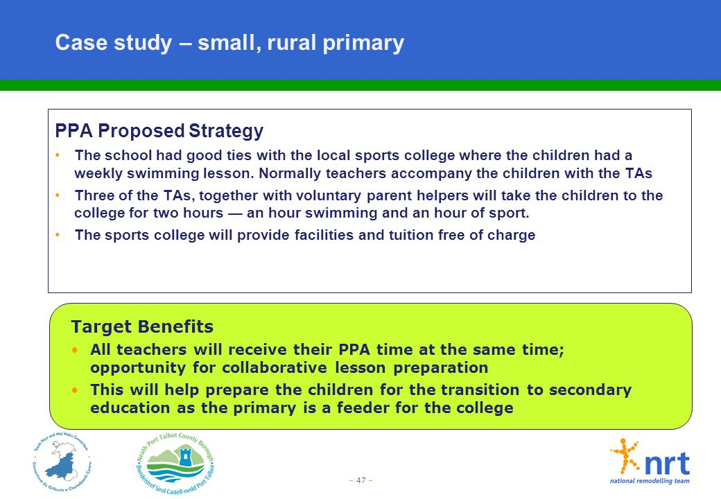 Case study – small, rural primary