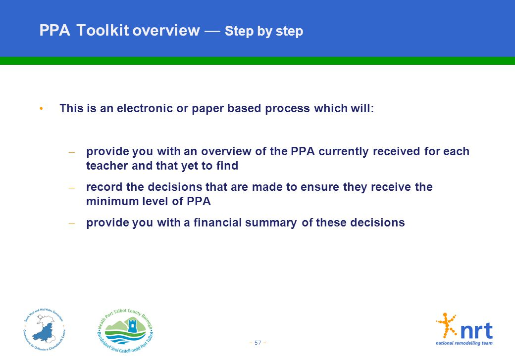 PPA Toolkit overview — Step by step