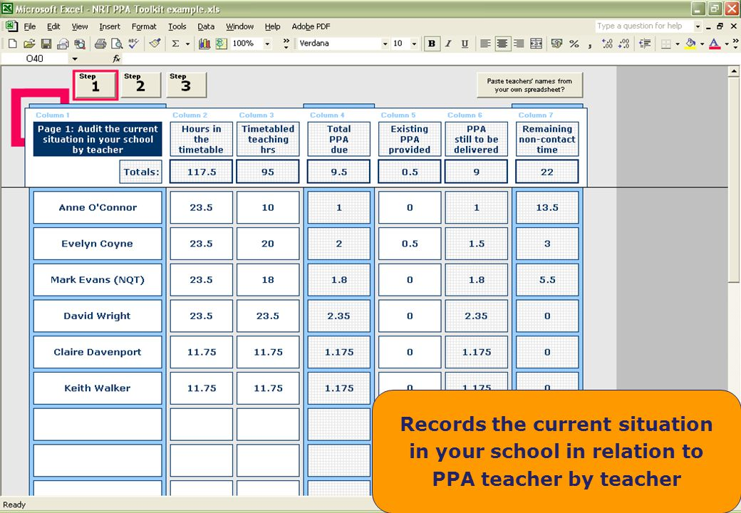 Key messages The first step is where you enter the raw data per teacher. What are the number of hours in the school timetable *
